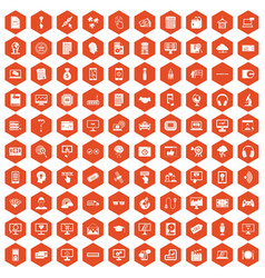 100 website icons hexagon orange vector