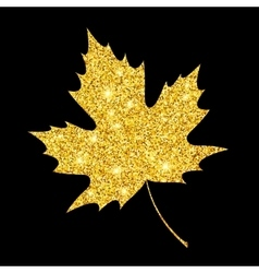 Golden glitter textured fall leaf autumn gold vector