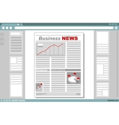 Business newspaper with browser window frame vector
