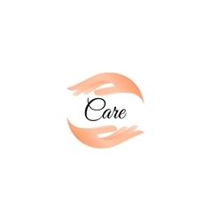 Isolated hand care logo Human palms logotype vector image