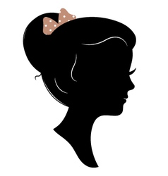 Vintage girl head silhouette isolated on white vector
