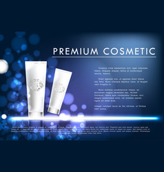 Cosmetic product poster white bottle package vector