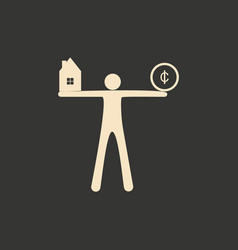 Flat in black white man with coin and house vector