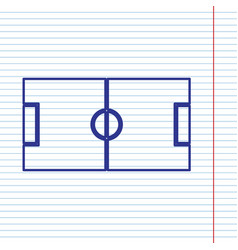 Soccer field navy line icon on notebook vector