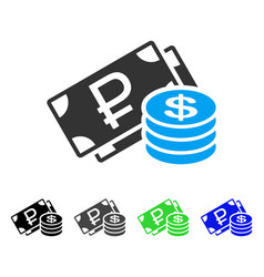 rouble and dollar cash flat icon vector image