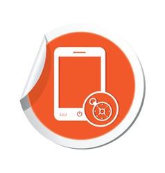 Phone compass icon orange sticker vector
