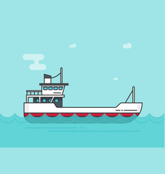 Ship empty  flat cartoon boat vector