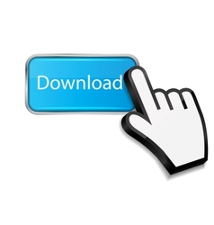Mouse hand cursor on download button vector