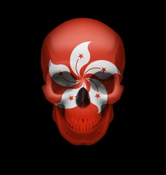 Hong kong flag skull vector