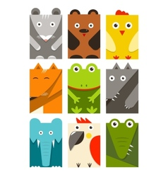 Flat childish rectangular animals set vector