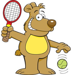 Cartoon bear playing tennis vector
