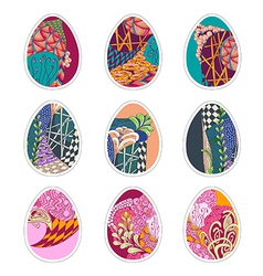 Set of nine easter eggs with zentangle ornament vector