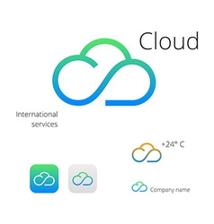 Cloud stylish logo and icons vector