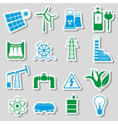 Electricity and enegry symbol color stickers set vector