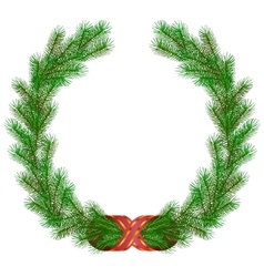 Christmas fir branch wreath frame vector