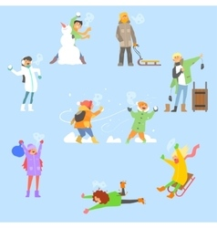 Winter fun and activities set vector