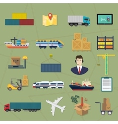 Logistic icons delivery cargo service vector