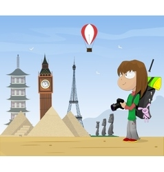 Girl travels the world vector image