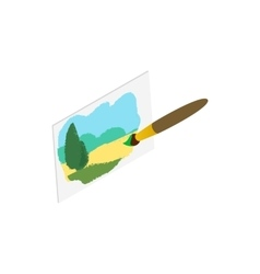 Drawing of landscape icon isometric 3d style vector