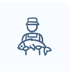 Fisherman with big fish sketch icon vector image