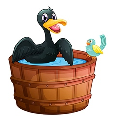 A duck and a bird at the bathtub vector
