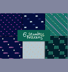 abstract seamless pattern set vector image vector image