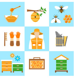 Beekeeping honey flat icons set vector