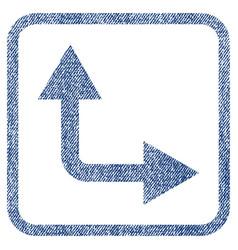 Bifurcation arrow right up fabric textured icon vector