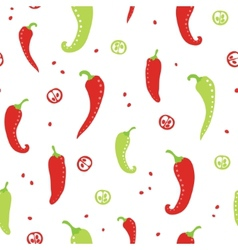 Chili peppers red and green seamless pattern vector image vector image