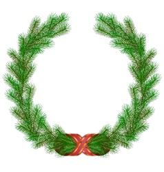 christmas fir branch wreath frame vector image vector image