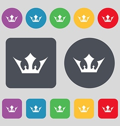 Crown icon sign A set of 12 colored buttons Flat vector image