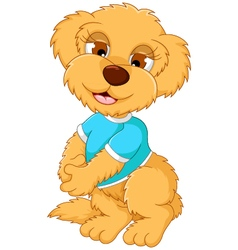 Cute baby bear cartoon posing vector