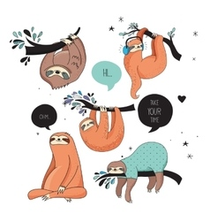 Cute hand drawn sloths funny design vector