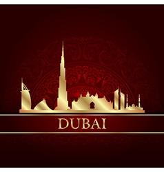 Dubai skyline silhouette on vintage background vector