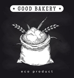 Eco mill product logo on chalkboard vector
