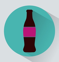 Glass bottle of soda colorful round icon vector image vector image