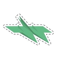 Green paper plane air free fun cut line vector