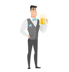 groom drinking beer vector image vector image