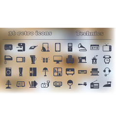 Home retro appliances set house technics vector