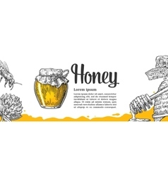 Honey set jars beer and honeycomb hand drawn vector