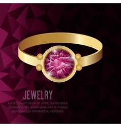 icon ring gold gem isolated vector image