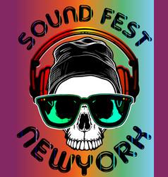 Music festival newyork sound fest skull poster vector