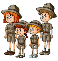 people in safari outfit vector image vector image