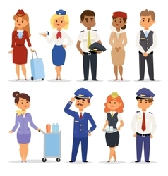 Pilots flight attendants vector