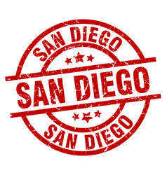 San diego red round grunge stamp vector