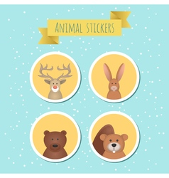 set of stickers with cute wild animals vector image vector image