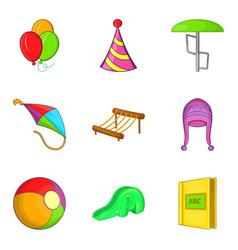 Shallow icons set cartoon style vector