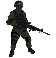 SWAT team member AR15 green vector image