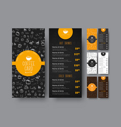 template of the coffee menu for a cafe or vector image