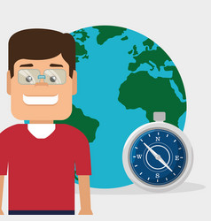 tourist man with planet and compass vector image